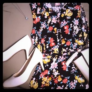 Black Collared Dress with Bright Florals 🌸🌻